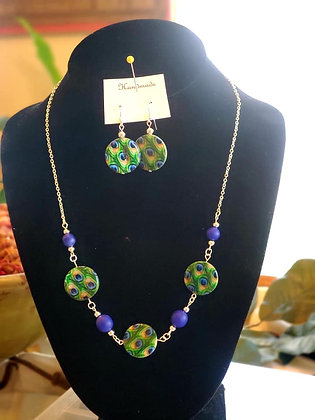 Peacock and Blue Bead Necklace & Earrings Set