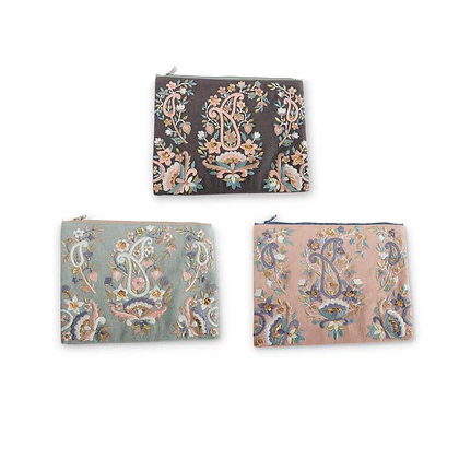 84065A - Paisley Cosmetic Bag (3 Asst Colors)