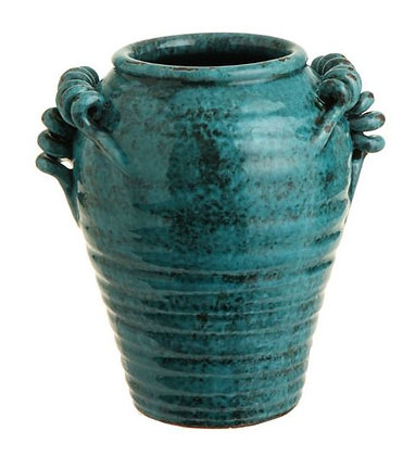 "3400833 - 9.5"" Teal Urn w/ Twisted Handles"