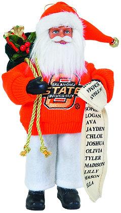"""OKC090 - 9"""" Oklahoma State Santa w/ Bag & List"""
