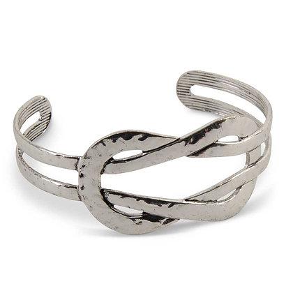 83865A-SI - Silvertone Hammered Cuff Bracelet