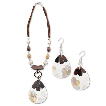 84673A - Inlaid Floral Pendant Necklace & Earrings Set