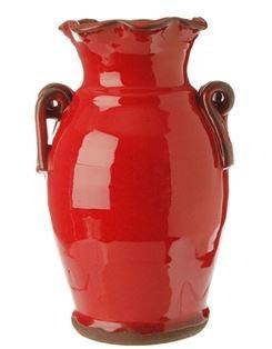 """3400859 - 11"""" Red Ceramic Urn w/ Twist Handles"""