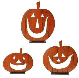 "H3417087m - 20"" Wooden Jack-o-lantern on Base"
