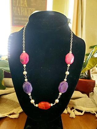 Tri-Color Stone Necklace