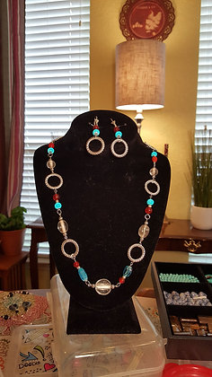 Red & Turquoise Colored Beaded Silvertone Necklace