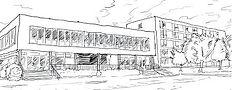 Dessin esquisse du bâtiment Cap Jeunes de la Résidence habitat Jeunes de saint-dié des vosges