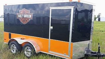 Diaond Cargo 6x12 Tandem Axle Harley Davidson Motorcycle Traile Orange and Black Exterior
