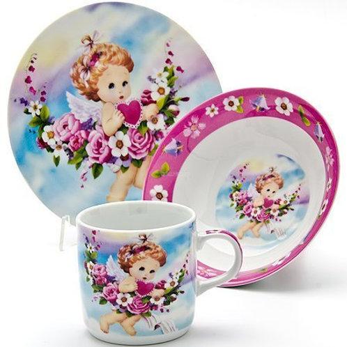 """Детский набор посуды 3 предмета """"Ангел"""""""