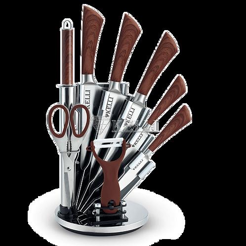Ножи Kelli KL-2127 9пр+подставка дерево ручки