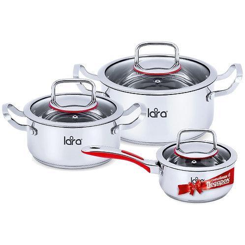 Набор посуды LARA LR-02-108 Prima 3пр 2,0л+3,7л +сотейник 1,5л