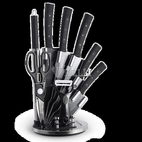 Ножи Kelli KL-2130 на подставке 9пр антибактериальное покрытие