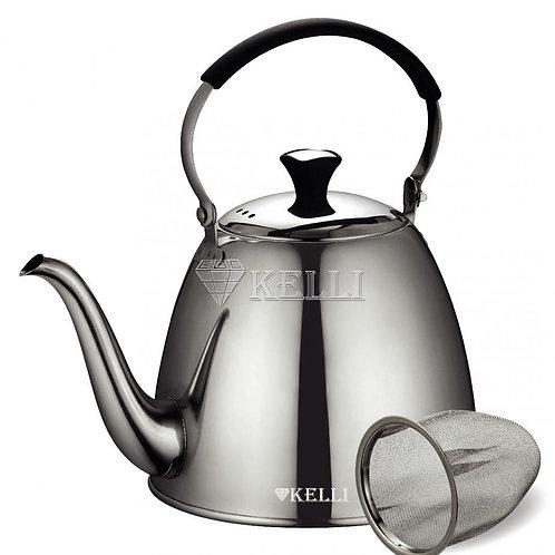 Чайник Kelli KL-4516 нерж с ситечком обьем 1,1л