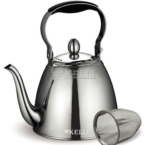 Чайник Kelli KL-4517 нерж с ситечком обьем 1,1л