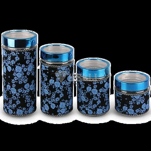 Набор банок для сыпучих BV-289 4пр обьем 0,7л 1,3л 1,7л 2,0л синий бархат
