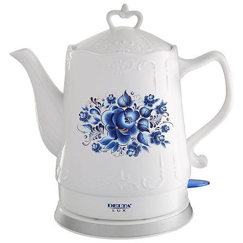 Чайник DELTA LUX DL-1237 Гжель керамика 1500Вт обьем 1,5л