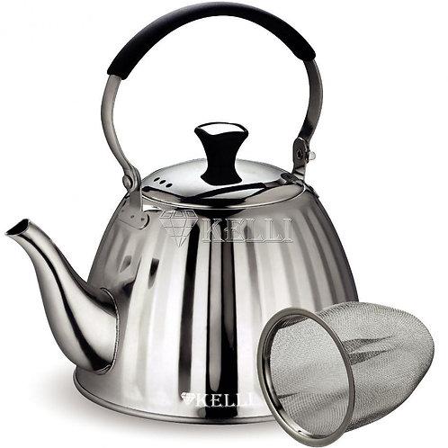 Чайник Kelli KL-4518 нерж с ситечком обьем 1л