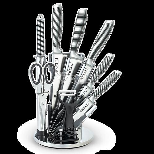Ножи Kelli KL-2128 9пр+подставка металл ручки
