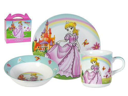 """Детский набор посуды 3 предмета """"Принцесса"""""""