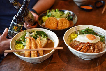 Enjoy our ramen with beer