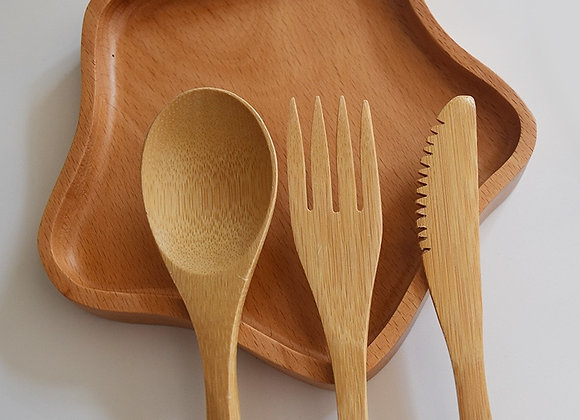 Wooden Spoon, Fork, Knife (each once)