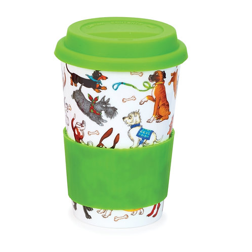 Dogs Galore Travel Mug with Lid & Sleeve- Dunoon fine English bone china
