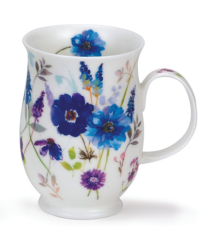 Suffolk Floral Harmony Blue - Coffee and Tea Mug- Dunoon fine English bone china