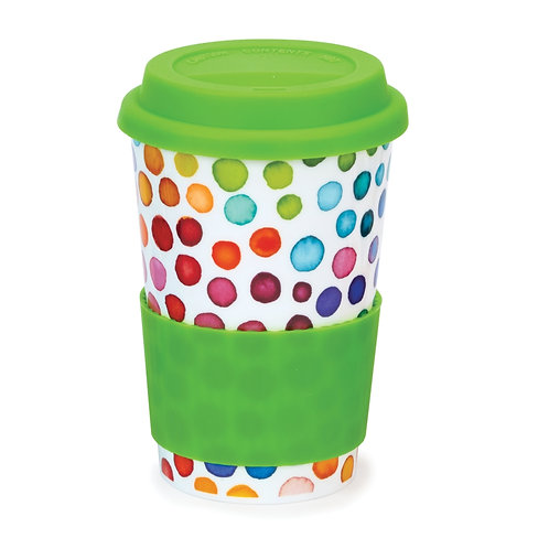 Hot Spots Travel Mug with lid & sleeve- Dunoon fine English bone china