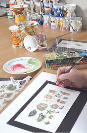 Watercolour painting a design for Dunoon mug