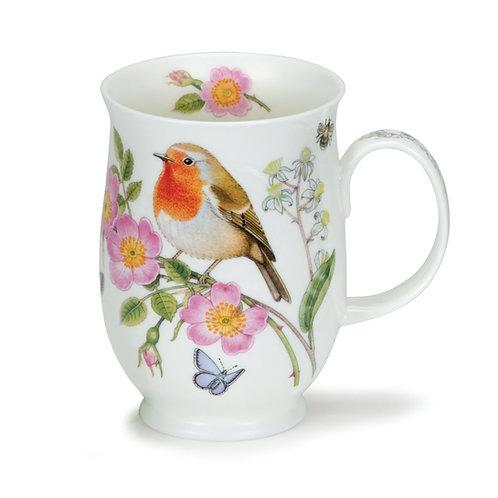 Suffolk Hedgerow Birds Robin Coffee and Tea Mug- Dunoon fine English bone china
