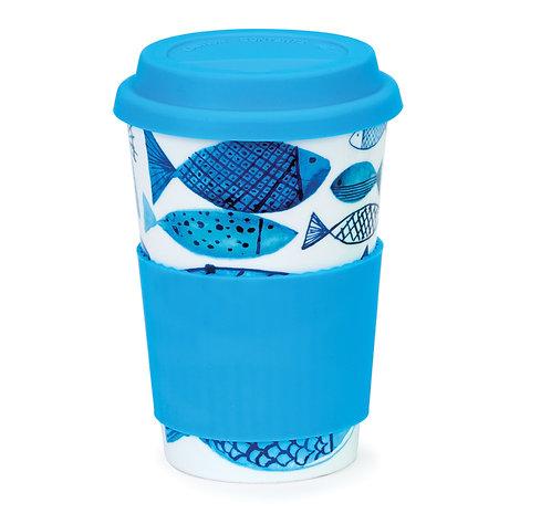 Go Fish Travel Mug with Lid & Sleeve - Dunoon fine English bone china