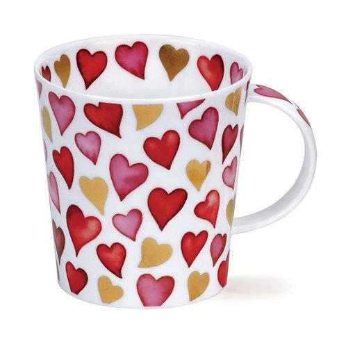 Lomond Lovehearts Red Coffee and Tea Mug- Dunoon fine English bone china