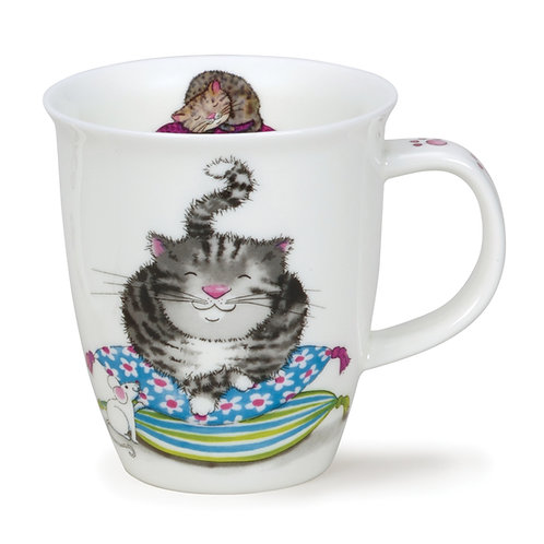 Nevis Comfy Cats - Grey Coffee and Tea Mug- Dunoon fine English bone china