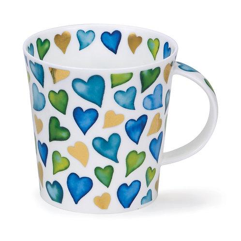 Lomond Lovehearts Blue Coffee and Tea Mug- Dunoon fine English bone china