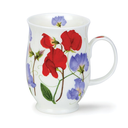 Suffolk Sweet Peas Red Coffee and Tea Mug- Dunoon fine English bone china