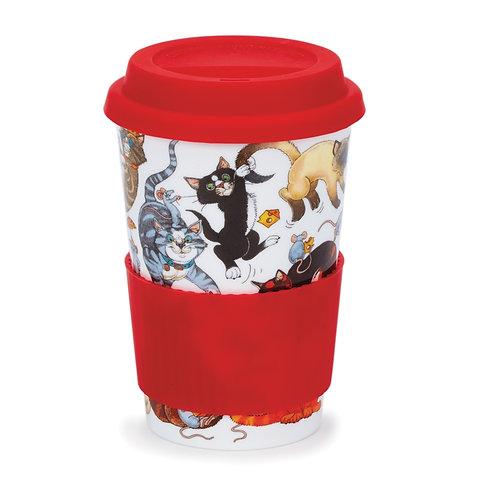 Pussy Galore Travel Mug with Lid & Sleeve- Dunoon fine English bone china