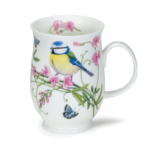 Suffolk Hedgerow Birds Blue Tit Coffee and Tea Mug- Dunoon fine English bone china