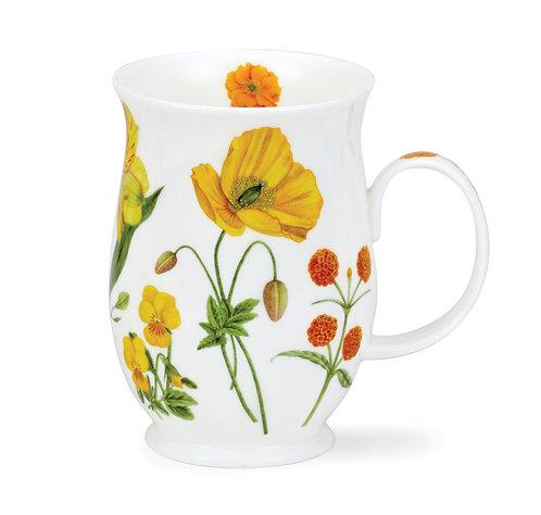 Suffolk Floral Melody - Yellow - Coffee and Tea Mug- Dunoon fine English bone china