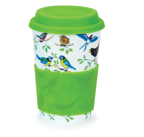 Garden Party Travel Mug with Lid & Sleeve- Dunoon fine English bone china