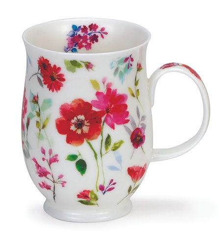 Suffolk Floral Harmony Red- Coffee and Tea Mug- Dunoon fine English bone china