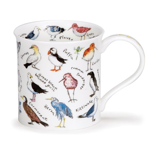 Bute Mixed Coastal Birds Coffee and Tea Mug- Dunoon fine English bone china