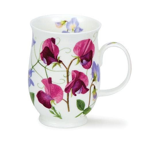 Suffolk Sweet Peas Dark Pink Coffee and Tea Mug- Dunoon fine English bone china