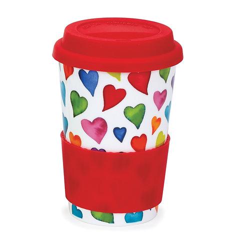 Warm Hearts Travel Mug with lid & sleeve- Dunoon fine English bone china