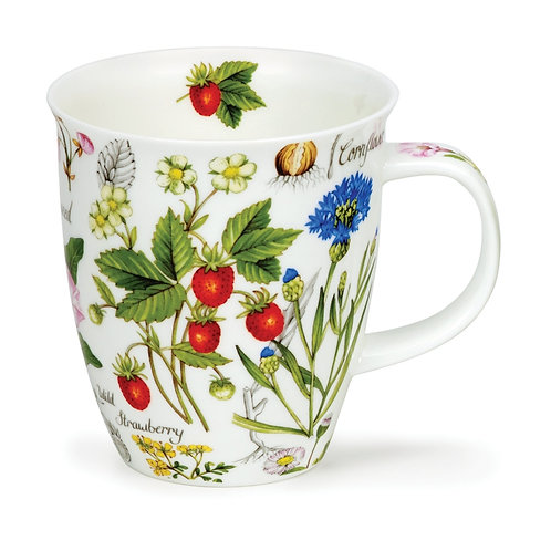 Nevis Floral Diary - Strawberry Coffee and Tea Mug- Dunoon fine English bone china