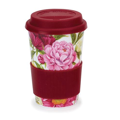 Peonies Travel Mug with Lid & Sleeve- Dunoon fine English bone china