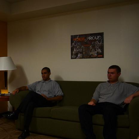 From left to right, Blake Bauserman (Cult Member), Kyle McLaughlin (Cult Leader), Dana Kazerooni (Cult Member), and W. Trent Welstead (The Loner).