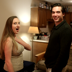 Caitlyn Murray (Sarah) and Miles Gheesling (Will) enjoying themselves in-between takes.