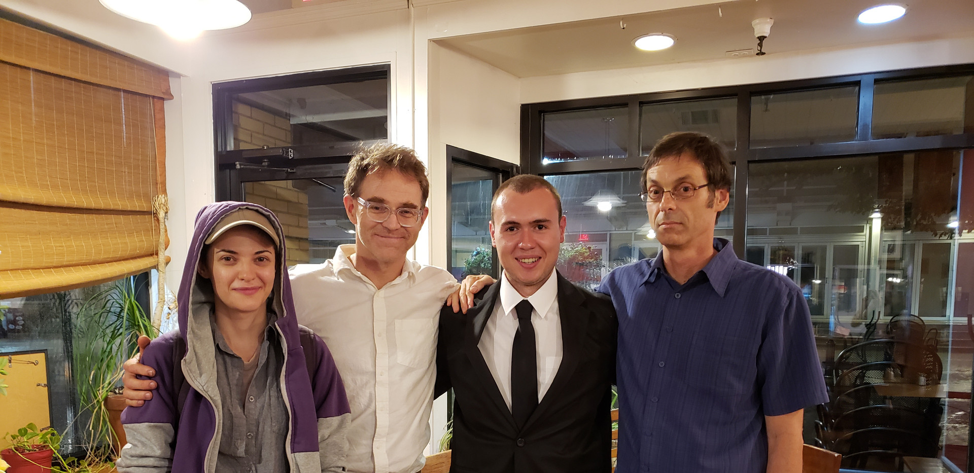 Enjoying the post-show reception after the 2018 Progeny Short Film Festival with Virginia Tech Cinema Faculty. From left to right, Laura Iancu, Charles Dye, W. Trent Welstead, and Karl Precoda.