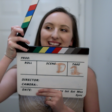 Caitlyn Murray (Sarah) generously filling in for slate duties to help the skelleton crew.