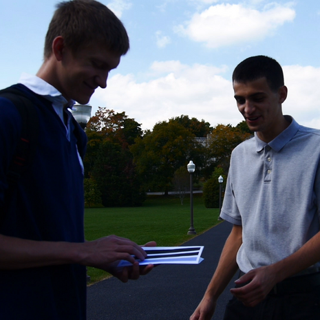 Andrew Gidzinski receives direction from Kyle McLaughlin (Cult Leader) and W. Trent Welstead (The Loner).